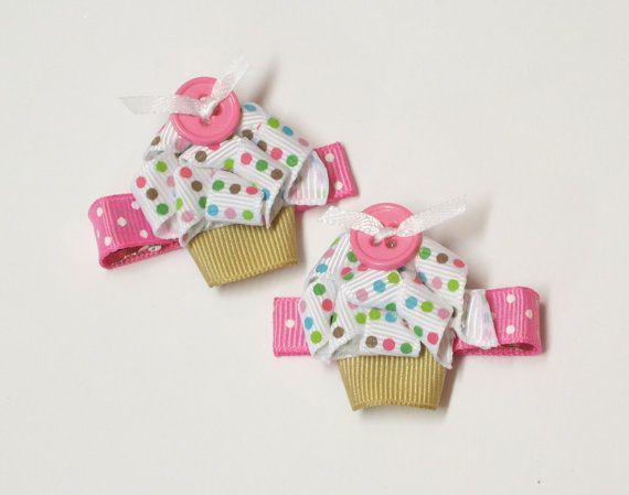 Cupcake hair clips