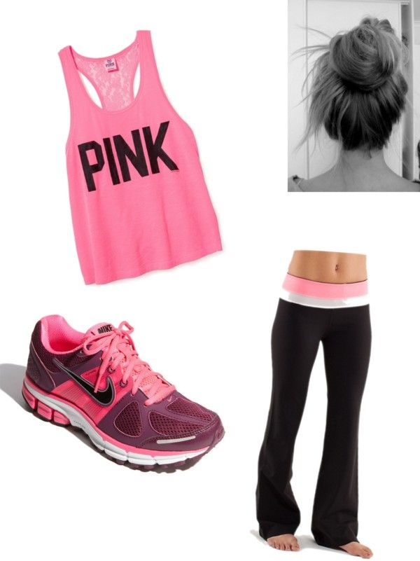 """""""Workout Outfit :)"""" by madisonptaylor on Polyvore: Fit Outfits, Workout Clothing, Training Equipment, Fit Equipment, Work Outs, Pink Workout, Fitness Outfits, Workout Outfits, Yoga Pants"""