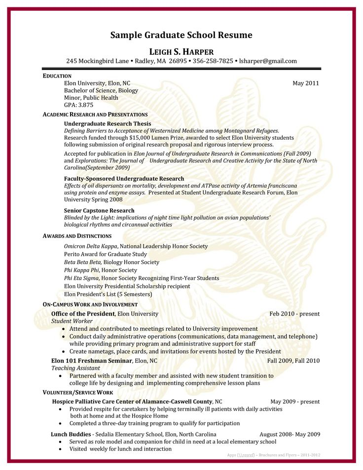 Sample Graduate School Resume How to draft a Graduate