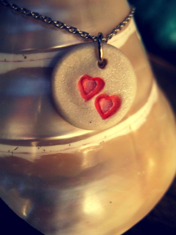 Perfect for Valentines Day! Handpainted Vintage Heart Charm Clay Pendant by HelloOceanDesigns