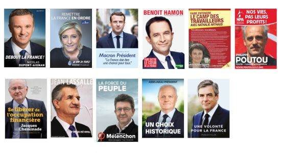 How To Make A Poster Image That Works? A Look At The 11 French Presidential Election Candidates - > From Minter Dial> From Minter Dial