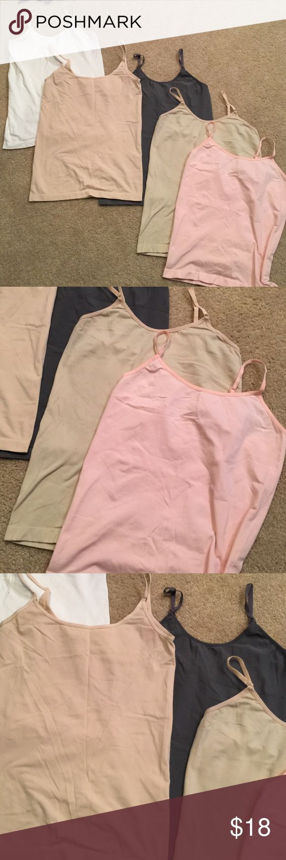 Cami top bundle 5 cami tops. Random brands. Two beige, 1 white, 1 slate grey and 1 baby pink. Used condition. Tops Camisoles