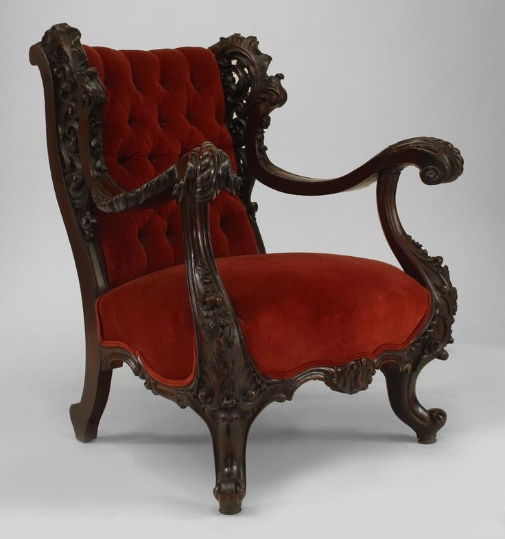 Goth victorian armchair red velvet ornate carved wood for Victorian furniture