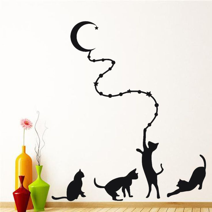 Black Cat Moon Wall Sticker //Price: $6.99 & FREE Shipping //     #wallsticker