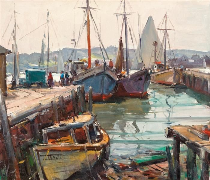 """""""Gloucester Wharf,"""" Carl William Peters, oil on canvas, 20 x 24"""", private collection."""