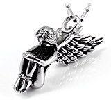 #9: JewelryWe ハロウィン アクセサリー: 天使の羽 エンジェルフェザー ネックレス カラー:シルバー(銀)[ギフトバッグを提供]