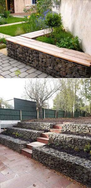 Fill with stones, bricks or other materials to create a gabion wall like these.