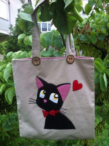 Kumaş Çanta - Aşık Kedi NERMİNCE