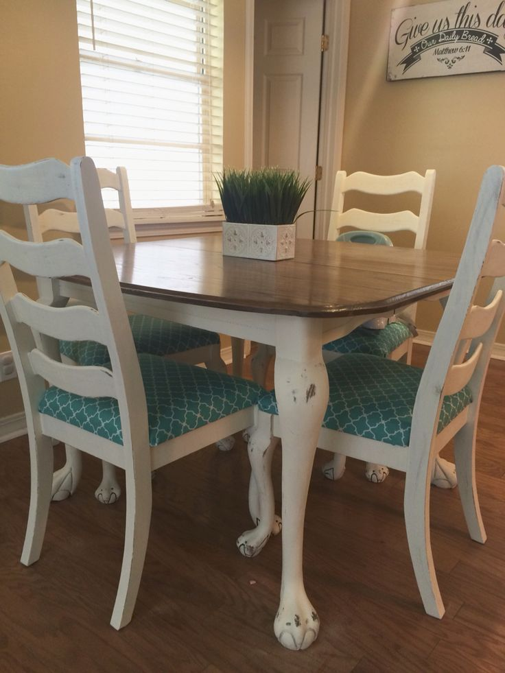easy way to give new life to an old dining set white