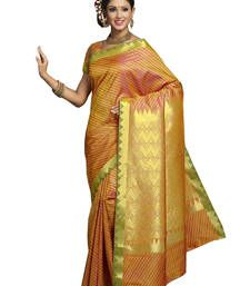 Buy Orange embroidered art silk saree with blouse south-indian-saree online