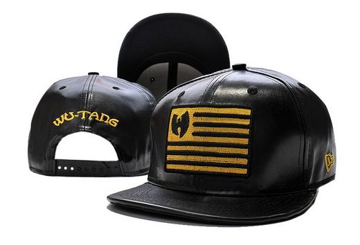 WU-TANG Snapback Black All Leather Gold