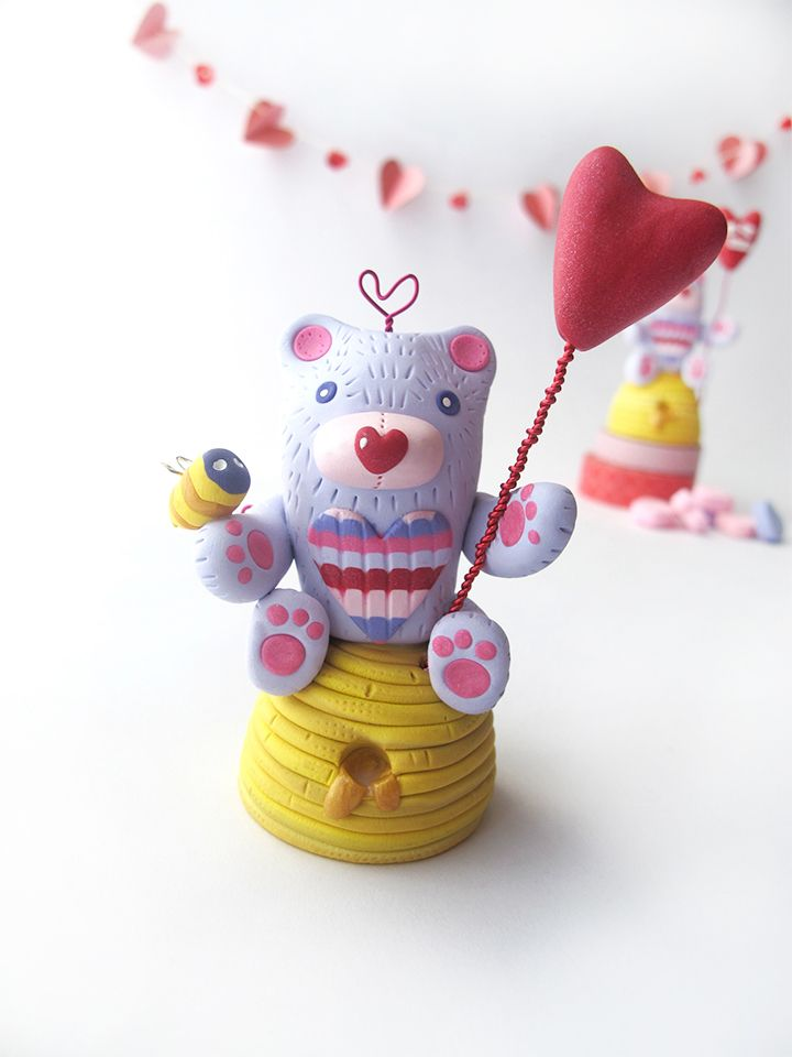 Bee My Honey Bear Figurine by Swirly Designs for Polyform