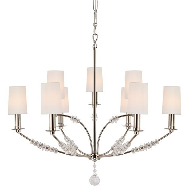Crystorama mirage 8009 chandelier crystal studded arms in a polished nickel finish give the crystorama mirage 8009 chandelier its contemporary shimmer