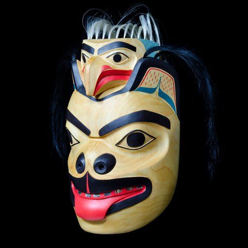 Grizzly Bear and Eagle Mask by Roberta Quock, Thompson-Okanagan, Tahltan artist (XN140525)