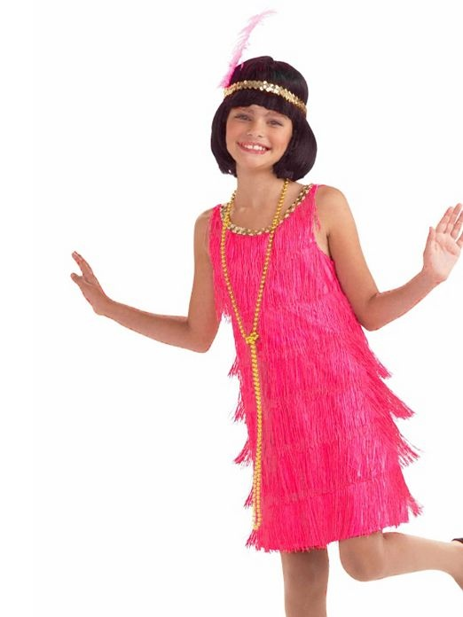 $14.90 Hot Pink Child Flapper Costume | Wholesale 20's Halloween Costumes for Girls