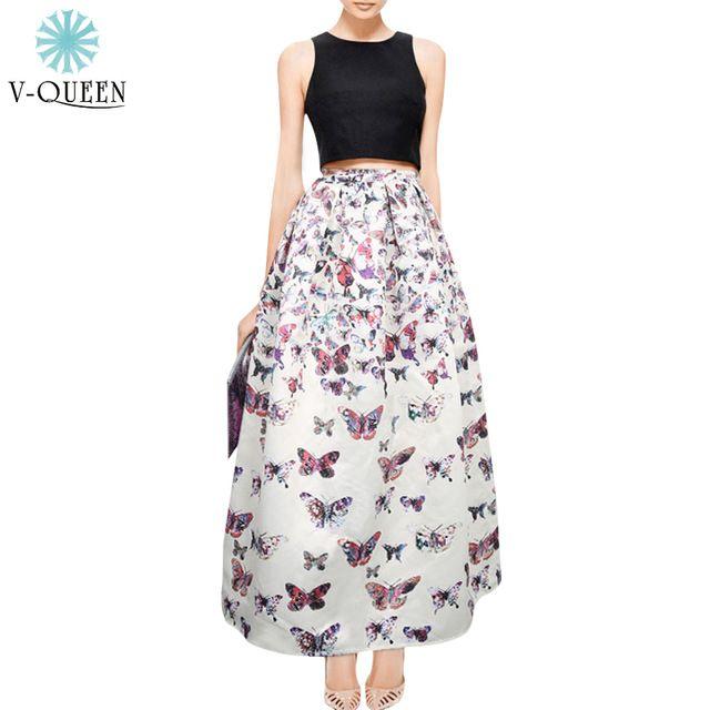 V-QUEEN100 CM de Comprimento Verão Saia Plissada Cintura Alta Elegante Impressão Borboleta vestido de Baile Mulheres Maxi Skirt Saias Vestidos A141024