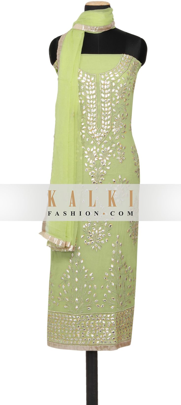 Buy Online from the link below. We ship worldwide (Free Shipping over US$100) http://www.kalkifashion.com/featuring-a-pistachio-green-georgette-unstitched-salwar-kameez-embellished-in-gotta-patti-only-on-kalki.html