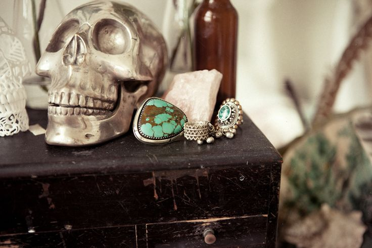 turquoise jewelry  silver skull