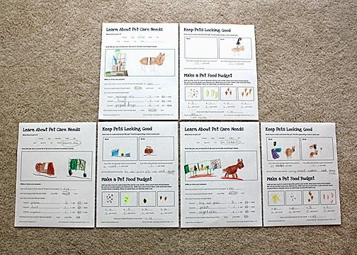 Tessa recorded information about proper pet care on a set of worksheets I created to help fulfill the requirements for Steps 1, 3 and 5 of the Brownies Pets Skill-Building Badge.