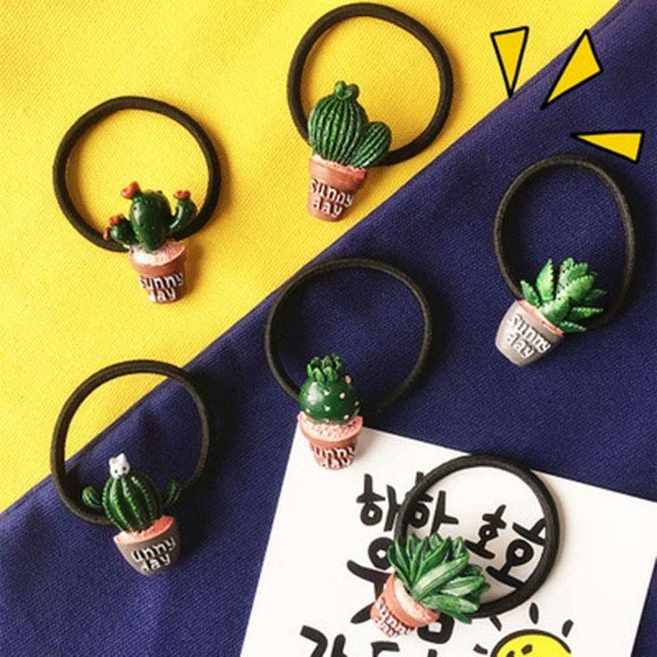 Happy Cactus Hair Rings