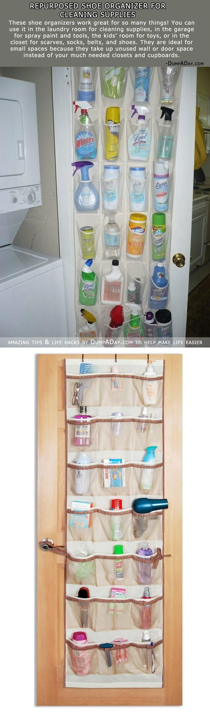 Repurposed Shoe Organizer For Cleaning Supplies