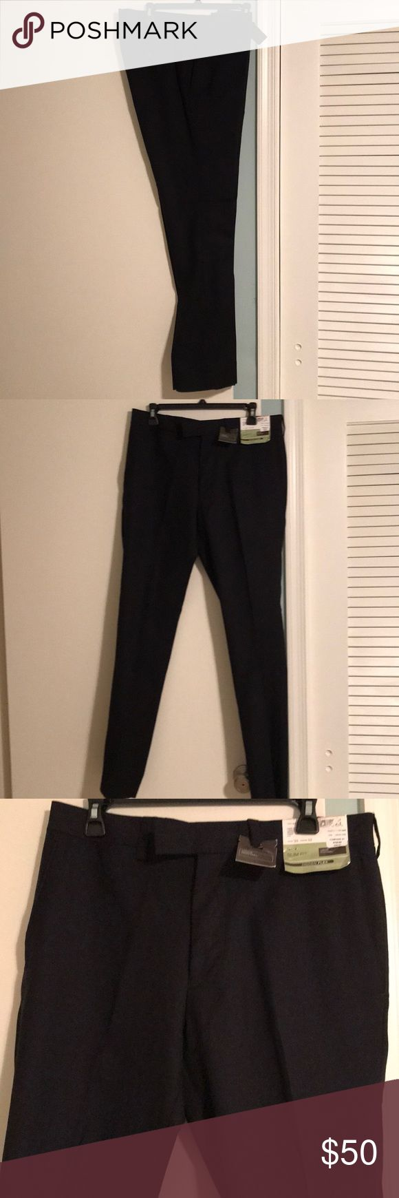 NWT 100% dark navy wool dress pants NWT Louis Raphael Luxe navy blue wool dress pants. 33 waist and 32 inseam. Landon slim fit dress pants with weave effect. The dress pant is slim fit with hidden flex. Zipper and hook closure. Waistband comfort that extends and adjust with body's movement. Brand new, fabulous dress pant! Louis Raphael Luxe Pants Dress