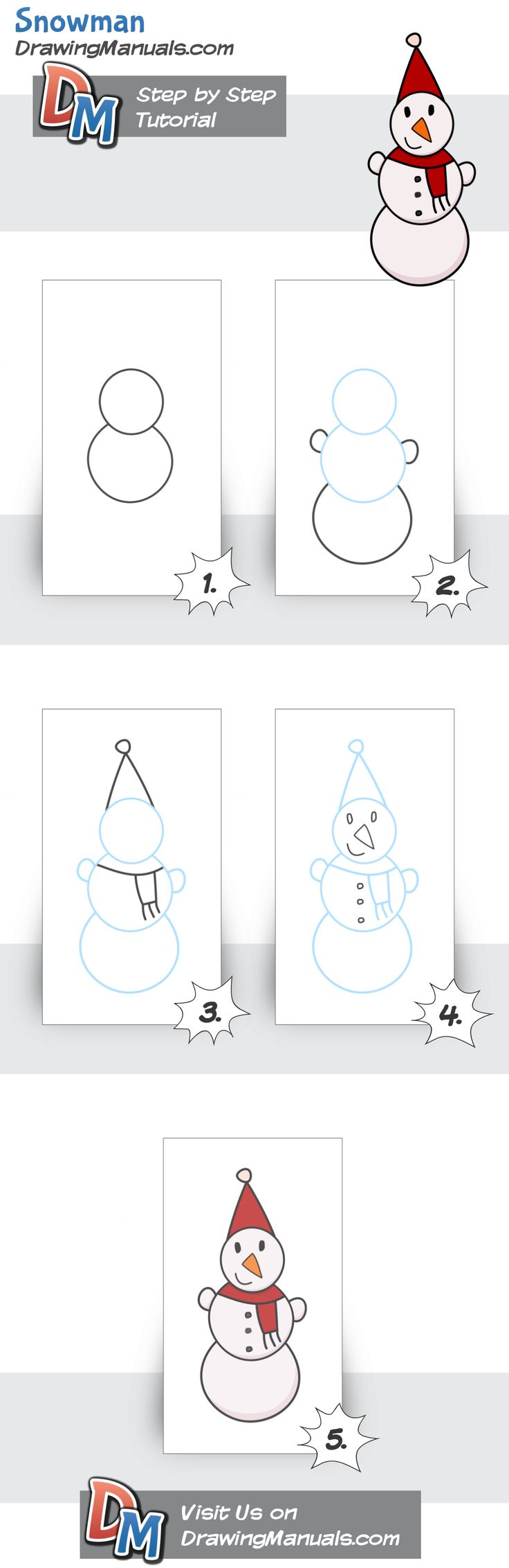 Simple Tutorial for Kids, Snowman http://drawingmanuals.com/manual/simple-tutorial-for-kids-snowman/