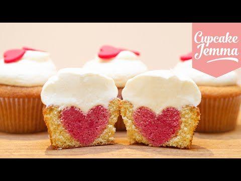 How to Bake a Heart Inside a Cupcake   Cupcake Jemma - YouTube