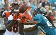 Cincinnati Bengals wide receiver A.J. Green, left, catches a pass for a 42-yard gain in front of Jacksonville Jaguars cornerback Rashean Mathis during the first half of an NFL football game,  Sunday, Sept. 30, 2012, in Jacksonville, Fla. (AP Photo/Phelan M. Ebenhack)