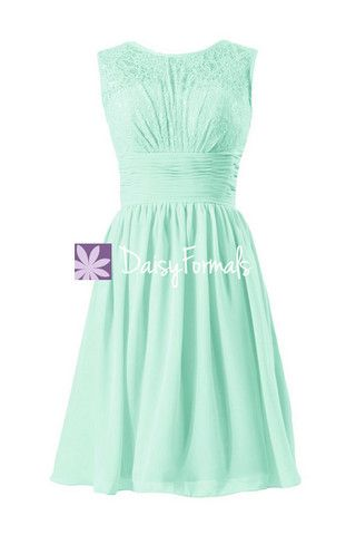 Short Mint Lace Bridal Party Dress from Daisy Formals