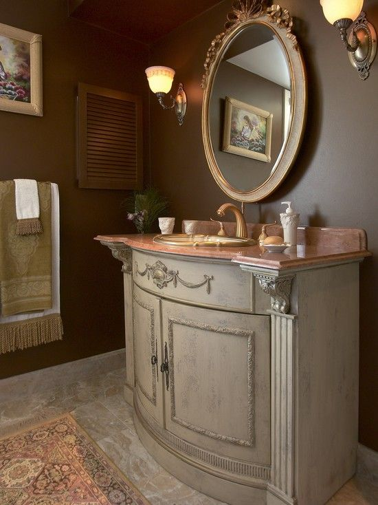 Cool and Unique Bathroom Mirrors and Other Unique Equipment: Traditional Bathroom With Elegant And Unique Bathroom Vanities With Classic Style Also Classic And Luxury Faucet And Mixer Tap Design Also Unique Soap Dispenser Also Elegant Circle Mirror With Frame ~ kitchentablecomics.com Bathroom Ideas Inspiration