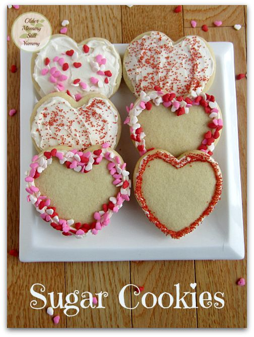 Sugar Cookies with Cream Cheese Frosting ~ Today I have put a Valentine's Day spin on them, but you can very easily customize this recipe for any occasion. ~ Older Mommy Still Yummy