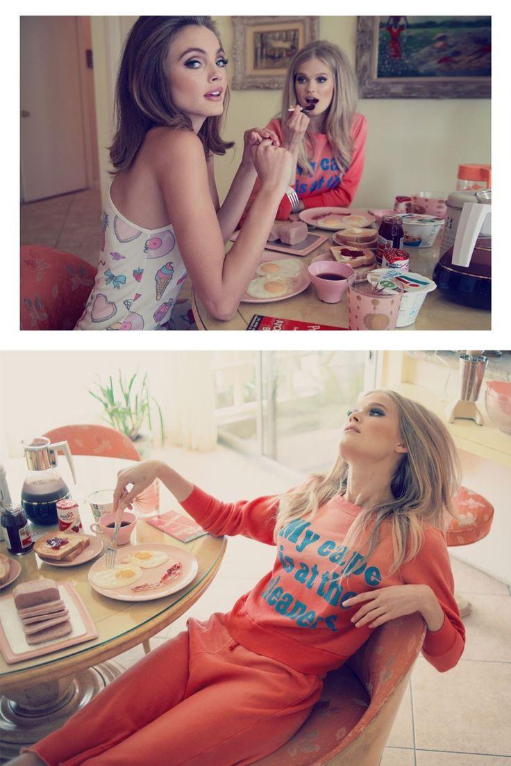 Model wears 60s styles lingerie inspired look Pose for Wildfox resort 2015 lookbook Photoshoot