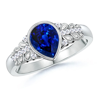 Angara Pear Motifs Sapphire and Diamond Vintage Carving Ring in White Gold vuqm8