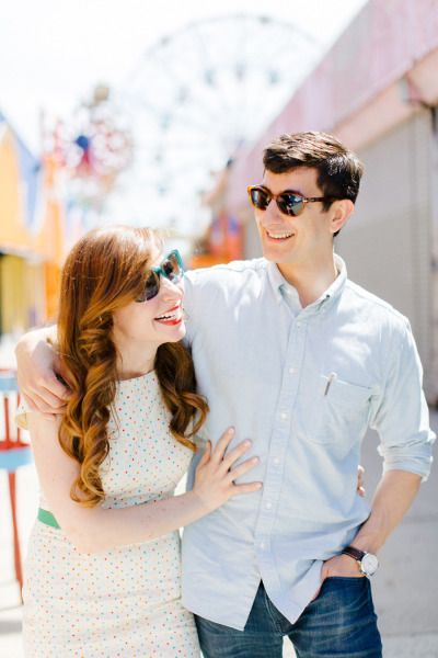 Summertime engagement shoot at Coney Island: http://www.stylemepretty.com/2014/07/03/summertime-engagement-shoot-at-coney-island/ | Photography: http://www.ahmetze.com/