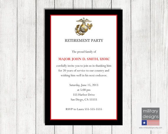 Marine Corps Retirement Invitation, Printable Marine Corps ...