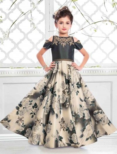 1b82597a3 Buy Little Girls Gowns Online, Traditional Gown for Girls. Cream and grey  color satin fabric gown