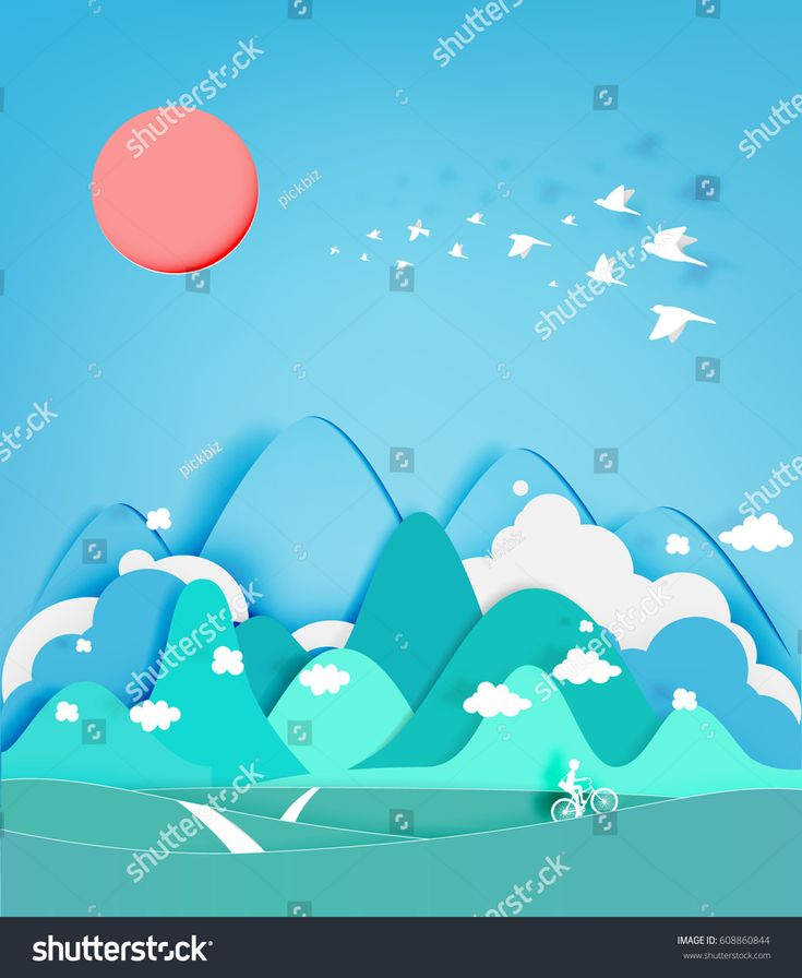 Colorful mountain paper cut style background vector illustration