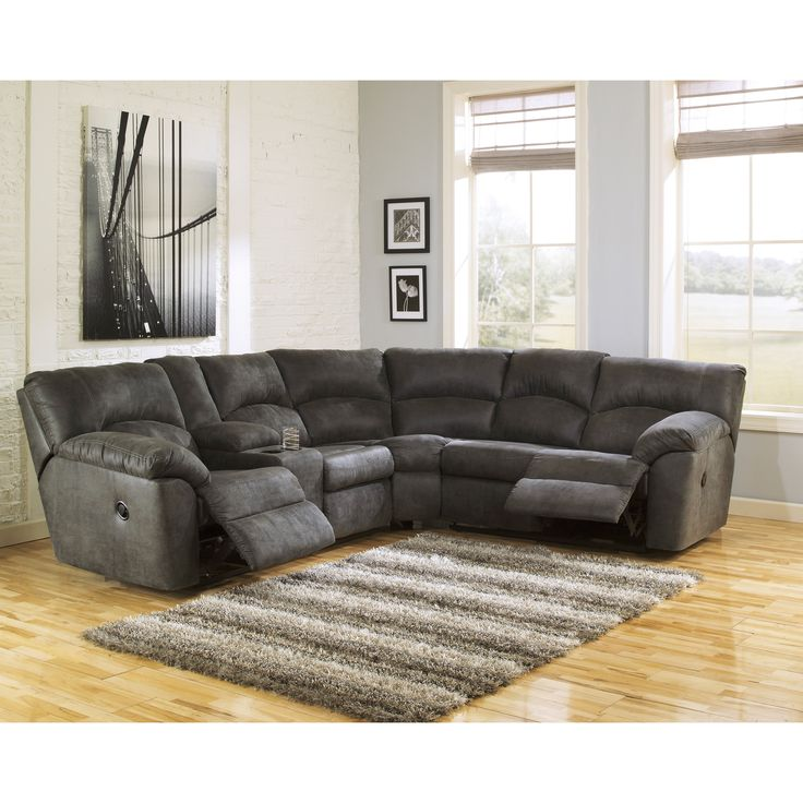 Ashley Furniture Sectional Chocolate signature designashley tambo pewter left and right reclining