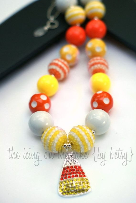 DIY Chunky Necklace Bead Kit - Candy Corn - Fall - Make your own chunky necklace