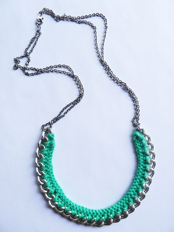 Such an easy project! Crocheting yarn directly into jewelry chain! the bureau: CROCHET NECKLACE. DIY