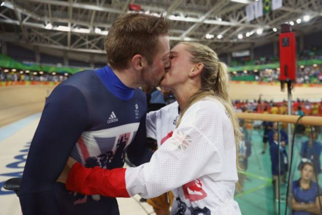 Gold medalist Jason Kenny celebrates with his girlfriend, cycling gold medalist…