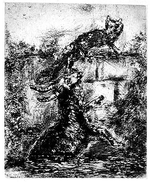 Chagall - Fox Goat - Chagall - Fábulas de la Fontaine - Água forte