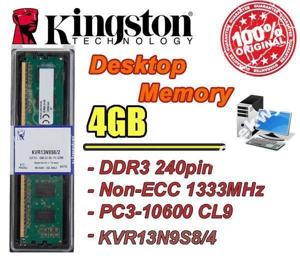 NOWA PAMIĘĆ KINGSTON 4GB DDR3 1333MHZ CL9 BOX