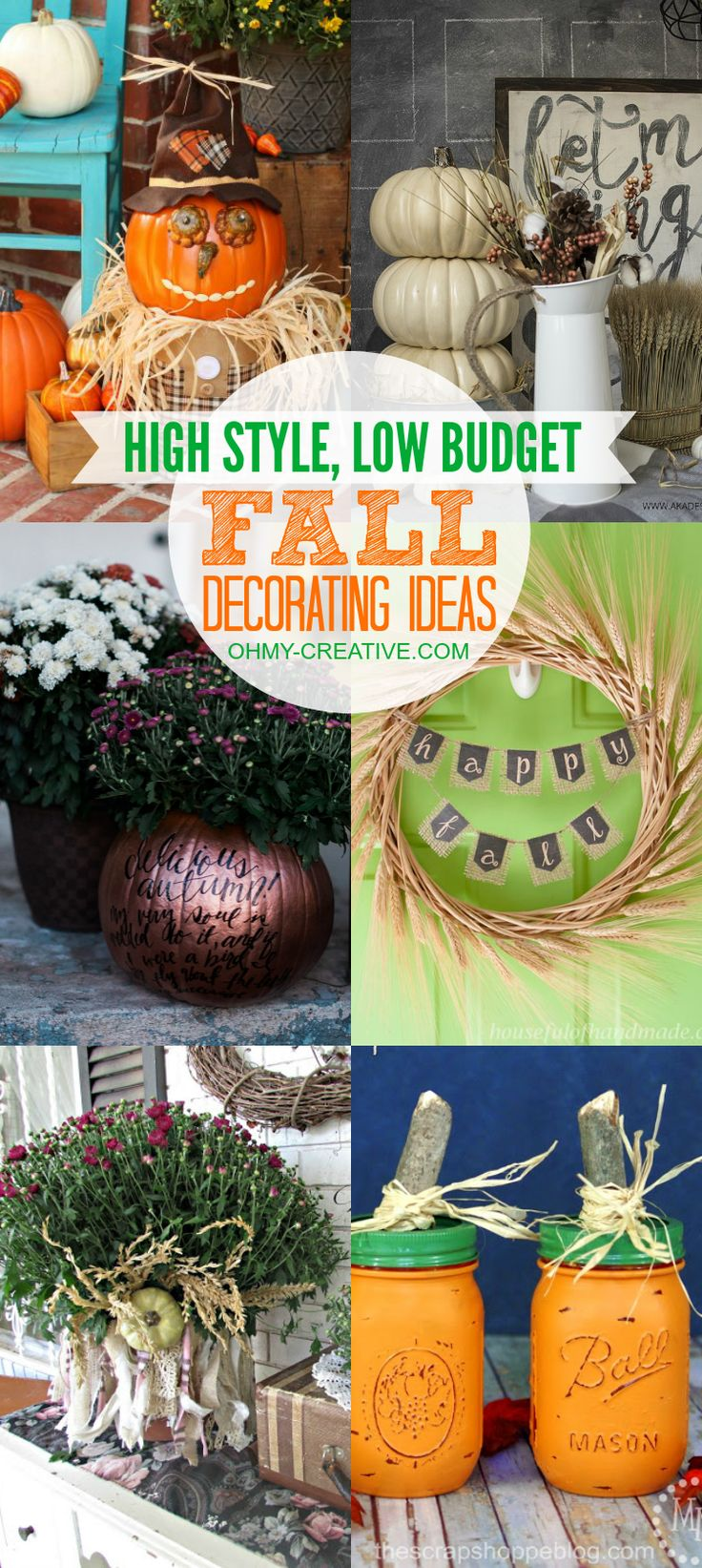 Easy outdoor fall decorating ideas - High Style Low Budget Fall Decorating Ideas