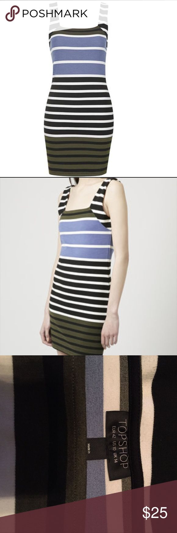 Topshop Blue Striped Bodycon Dress Cool square neck bodycon dress from Topshop. Black, blue and white stripes. Like new condition! Topshop Dresses