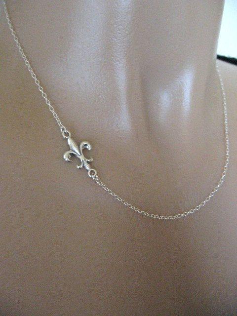 Sideways Fleur-de-lis Necklace, Fleur-de-lis Necklace, Fleur-de-lis Jewelry, Sterling Silver, Dainty Jewely, Sideways Necklace. $26.00, via Etsy.