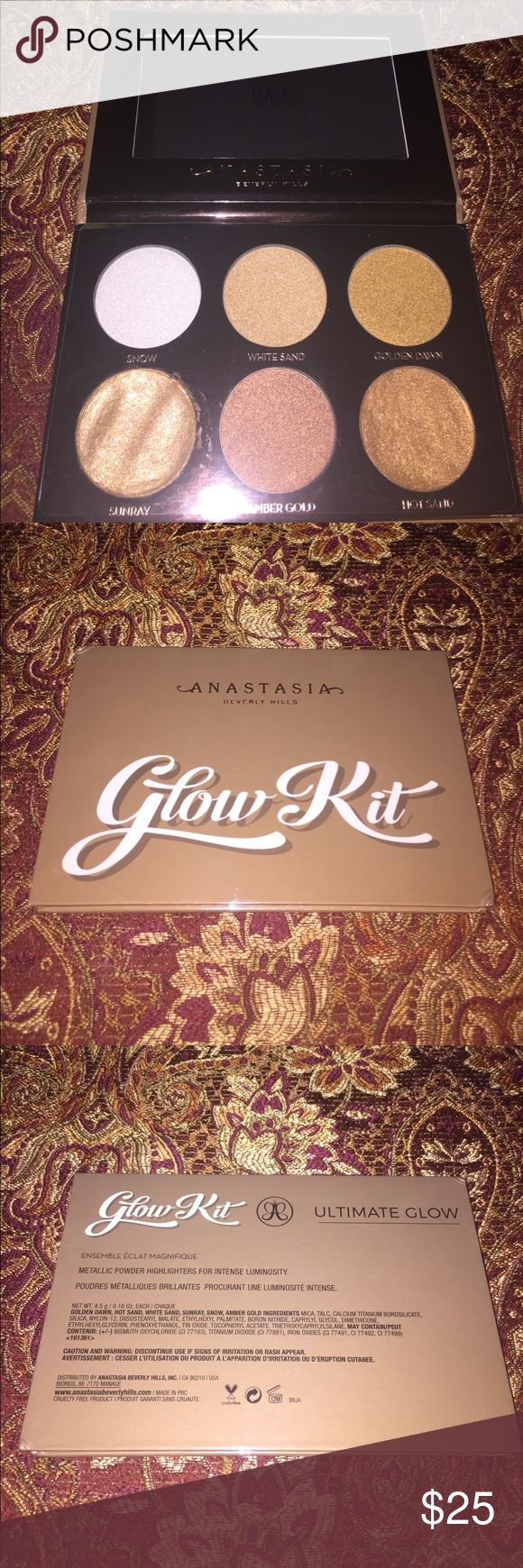 ABH Anastasia Beverly Hills Ultimate Glow Kit New FIRSM Price. No trades. Thanks! ABH Anastasia Beverly Hills Ultimate Glow Kit New, never used but 2 pans arrived broken so I repressed the 2 highlighters with a paper towel and alcohol. I have the receipt to proof that it is authentic. Anastasia Beverly Hills Makeup Luminizer