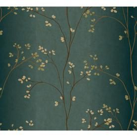 Inspired By Color Teal And Brown Paper Floral Wallpaper Br6224