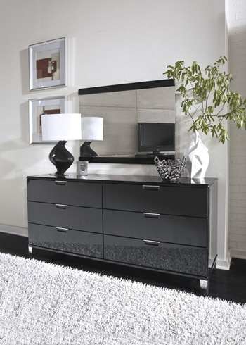 modern  black  shiny  silver We love this modern sleek dresser. 17 Best images about Master Bedrooms on Pinterest   The high